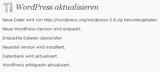 Wordpress-Update auf Version 2.8